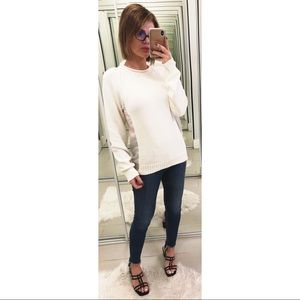Joseph Silk Panel Sweater in White